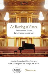Special Concert: An Evening in Vienna With Acclaimed Virtuoso Jan Jiracek von Arnim @ Ruggero Piano